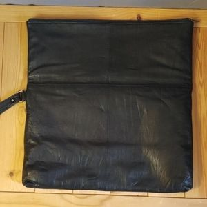 Topman Bags - Topman Leather and pony hair clutch Black w/handle